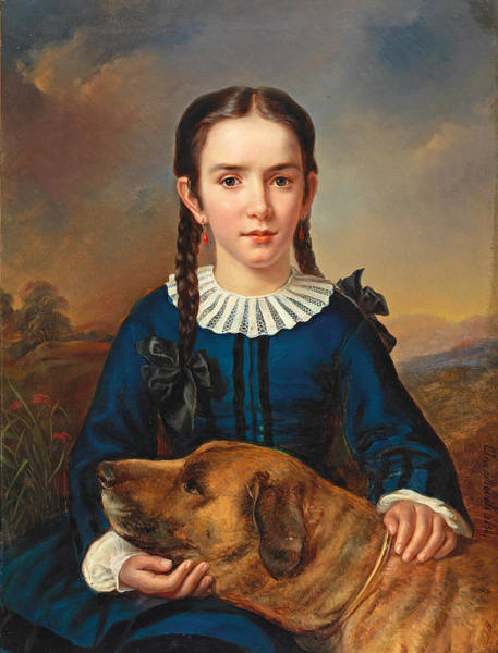 Hair Of The Dog Wall Art - Painting - Portrait Of The Baroness Trent-turcati With Dog by Elisabeth Modell