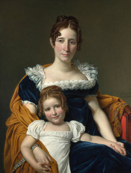 Painting - Portrait Of The Countess Vilain Xiiii And Her Daughter Louise by Jacques-Louis David