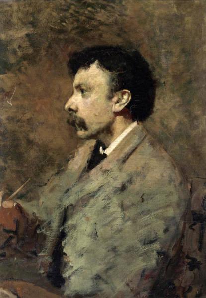 Cesare Painting - Portrait Of The Painter Filiberto Petiti by Cesare Tallone