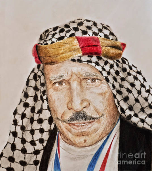 Wall Art - Drawing - Portrait Of The Pro Wrestler Known As The Iron Sheik by Jim Fitzpatrick