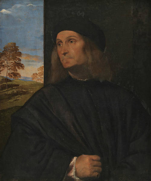 Titian Painting - Portrait Of The Venetian Painter Giovanni Bellini by Titian