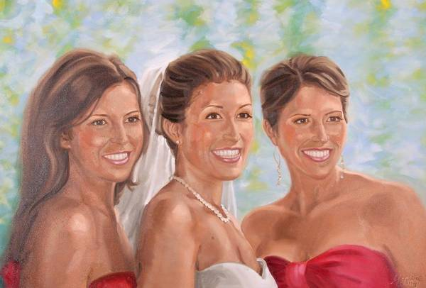 Painting - Portrait Of Three Sisters by Gary M Long