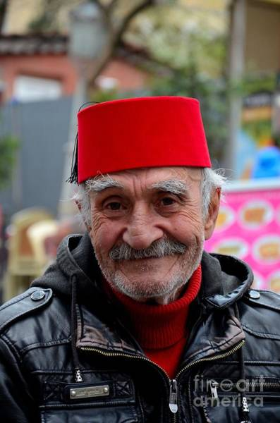Photograph - Portrait Of Turkish Senior Wears Fez And Leather Jacket Smiles Istanbul Turkey by Imran Ahmed