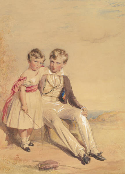 Wall Art - Drawing - Portrait Of Two Children by George Richmond