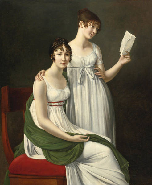 Wall Art - Painting - Portrait Of Two Young Women Said To Be The Baroness Pichon And Mme De Fourcroy by Henri-Francois Riesener