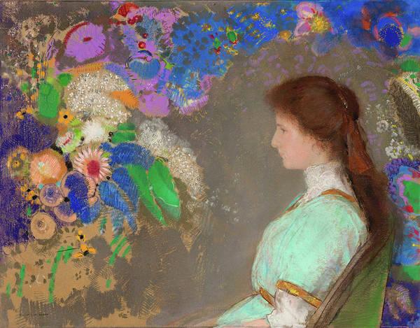 Wall Art - Painting - Portrait Of Violette Heymann by Odilon Redon