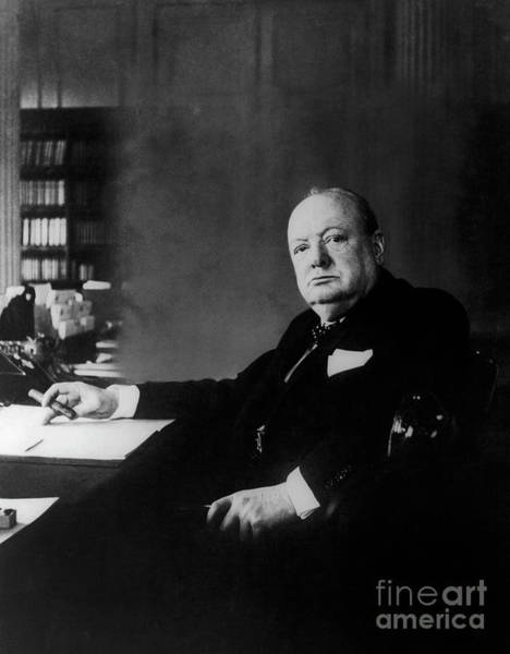 Wall Art - Photograph - Portrait Of Winston Churchill  by English School