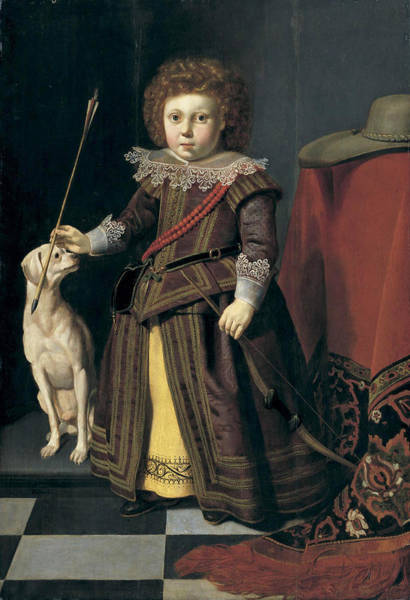 Wall Art - Painting - Portrait Of Young Boy In An Interior With His Dog by Thomas de Keyser