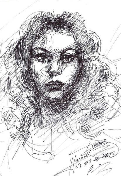 Pretty Wall Art - Drawing - Portrait Sketch  by Ylli Haruni