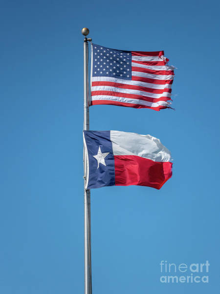 White Wall Art - Photograph - Portrait View Of The Texas Flag Under The Usa Flag by PorqueNo Studios