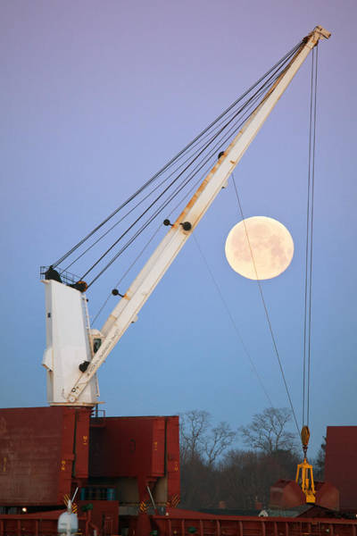 Wall Art - Photograph - Portsmouth Crane Moonset by Eric Gendron