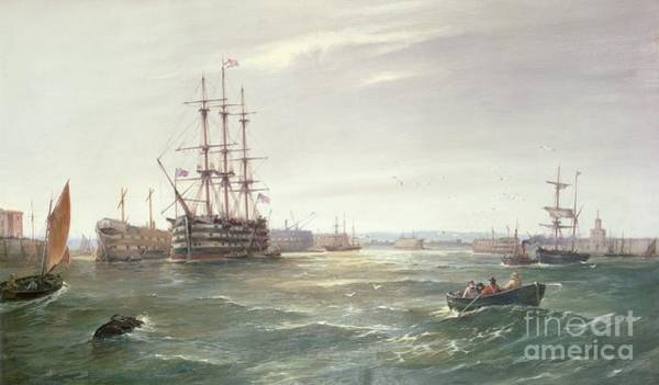 Victory Painting - Portsmouth Harbour With Hms Victory by Robert Ernest Roe