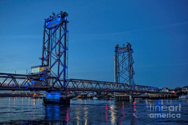 Photograph - Portsmouth Memorial Bridge At Night by Edward Fielding