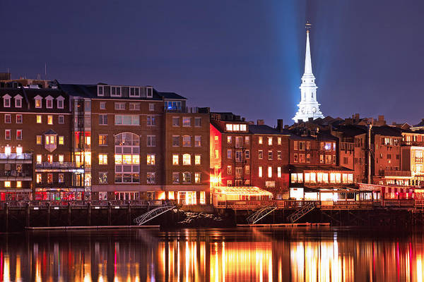 Steeple Wall Art - Photograph - Portsmouth Waterfront At Night by Eric Gendron