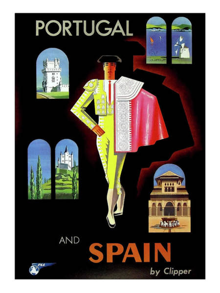 Wall Art - Painting - Portugal And Spain, Airline Travel Poster by Long Shot
