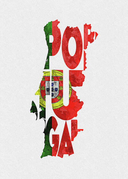 Europe Map Digital Art - Portugal Typographic Map Flag by Inspirowl Design