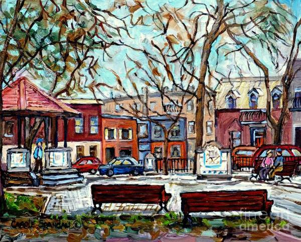 Painting - Portuguese Park Plateau Mont Royal Row Houses Autumn In The City Canadian Painting Carole Spandau    by Carole Spandau