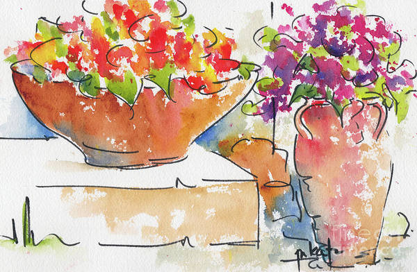 Painting - Portuguese Terra Cotta Duo by Pat Katz
