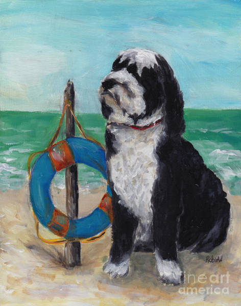 Wall Art - Painting - Portuguese Water Dog by Robin Wiesneth