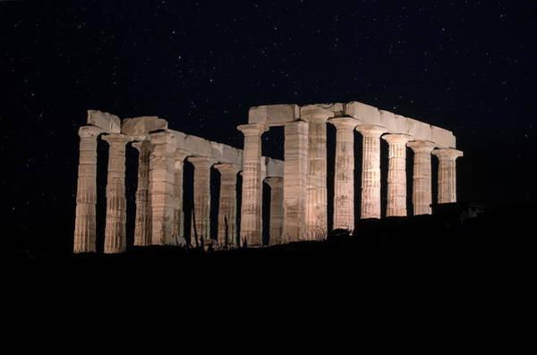 Historic Buildings Wall Art - Photograph - Poseidon Temple At Night by Jaroslaw Blaminsky