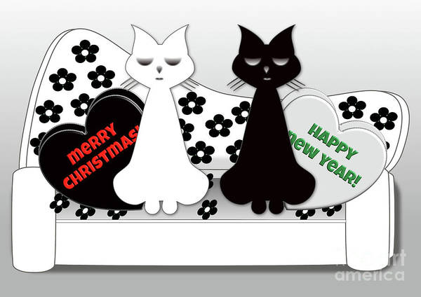 Digital Art - Posh Cats Christmas - Black And White by Barefoot Bodeez Art