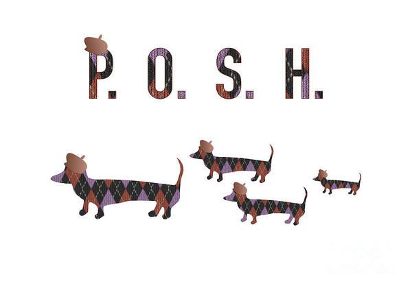 Digital Art - Posh Dachshunds by Barefoot Bodeez Art