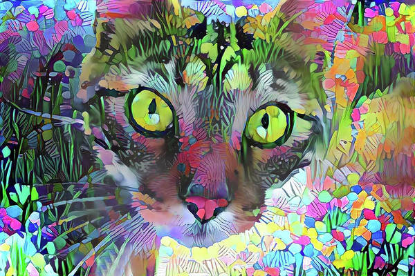 Mixed Media - Posie The Tabby Cat by Peggy Collins