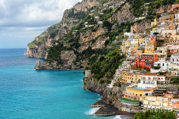 Historic Site Photograph -  Positano Coastline Campania Italy  by George Oze