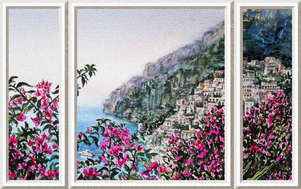Window Frame Painting - Positano Window View by Irina Sztukowski