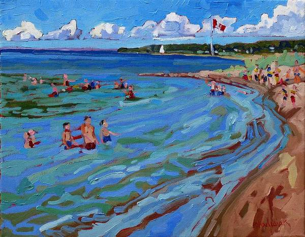 Lake Huron Painting - Positively Buoyant Beach People by Phil Chadwick