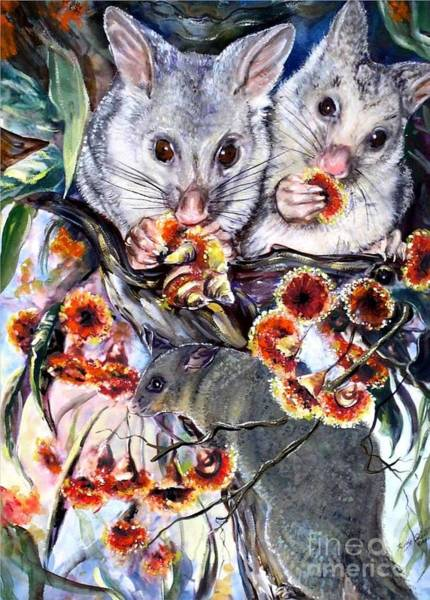 Painting - Possum Family by Ryn Shell
