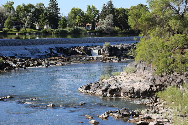 Photograph - Post Falls Dam With Rocky Riverbank by Carol Groenen