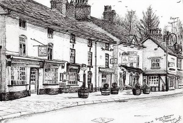 Quaint Drawing - Post Office  Prestbury by Vincent Alexander Booth