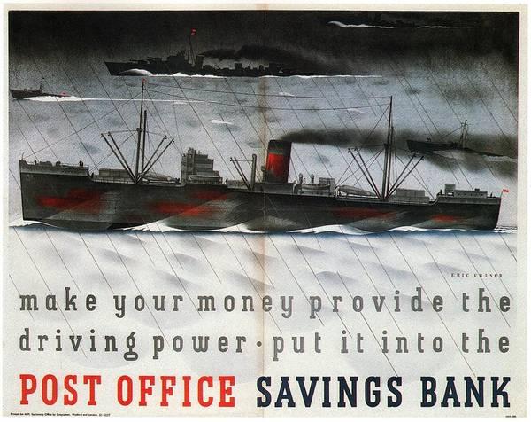 Office Decor Mixed Media - Post Office Savings Bank - Steamliner - Retro Travel Poster - Vintage Poster by Studio Grafiikka