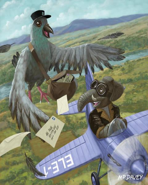 Wall Art - Painting - Postal Bird by Martin Davey