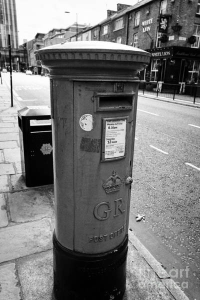 Light Box Photograph - Postbox Painted In The Blue To Signify A Specialist Airmail Box On Manchesters Liverpool Street Uk by Joe Fox