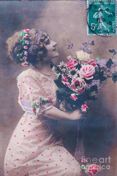 Wall Art - Photograph - Postcard Girl With A Bouquet by Delphimages Photo Creations