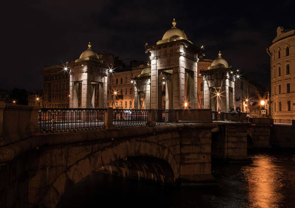 Wall Art - Photograph - Postcards From Sankt Petersburg - Lomonosov Bridge At Night by Jaroslaw Blaminsky