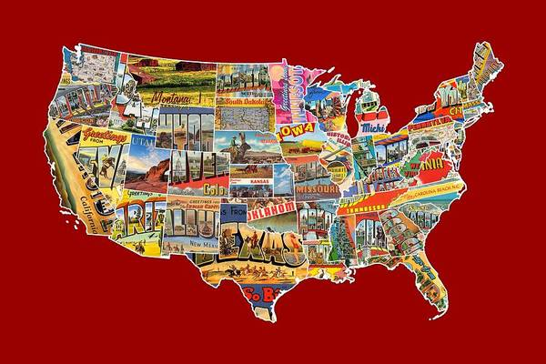 Background Mixed Media - Postcards Of The United States Vintage Usa Lower 48 Map Choose Your Own Background by Design Turnpike
