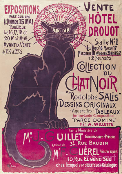1923 Painting - Poster Advertising An Exhibition Of The Collection Du Chat Noir Cabaret by Theophile Alexandre Steinlen