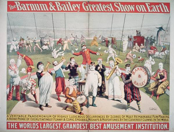 Entertainer Painting - Poster Advertising The Barnum And Bailey Greatest Show On Earth by American School