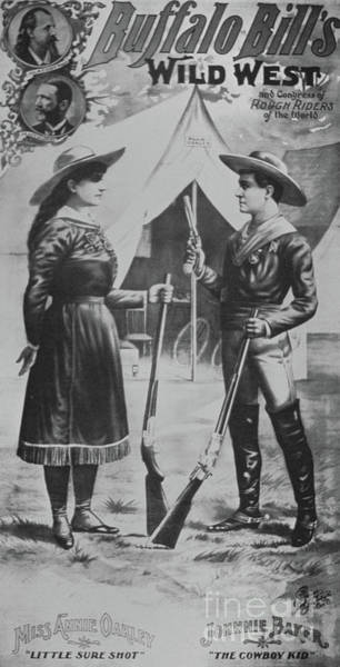 Wall Art - Drawing - Poster For Buffalo Bill's Wild West Show, Featuring Annie Oakley And Johnnie Baker The Cowboy Kid by American School
