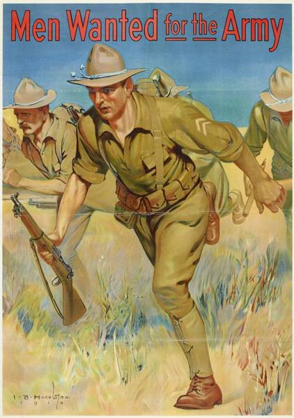 Department Of The Army Wall Art - Painting - Poster, Men Wanted For The Army, 1914, United States, By Isaac Brewster Hazelton. Gift Of Department by Celestial Images