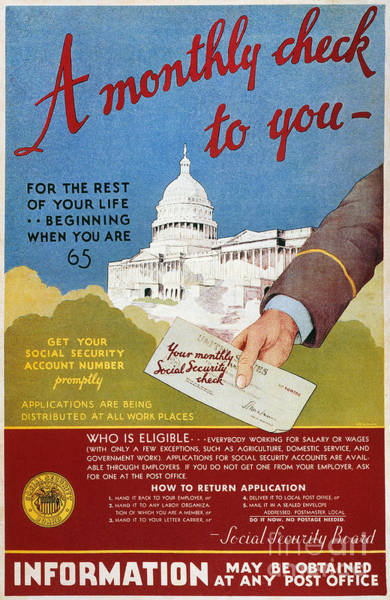 Photograph - Poster: Social Security by Granger