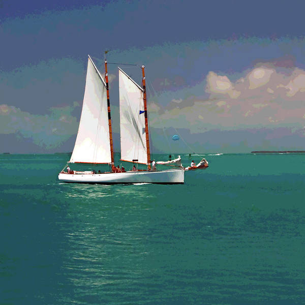 Digital Art - Posterized Sailing In Key West by Gene Norris