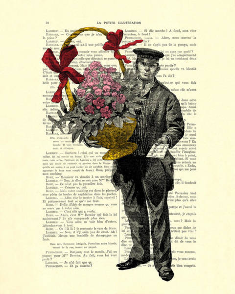 Sweetheart Digital Art - Postman Delivering Bouquet Of Flowers by Madame Memento