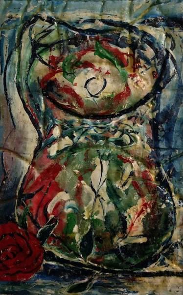 Painting - Potpourri Vase With Rose by Edward Longo