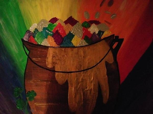 Lucky Charm Painting - Pot Of Gold by Katina Rabb