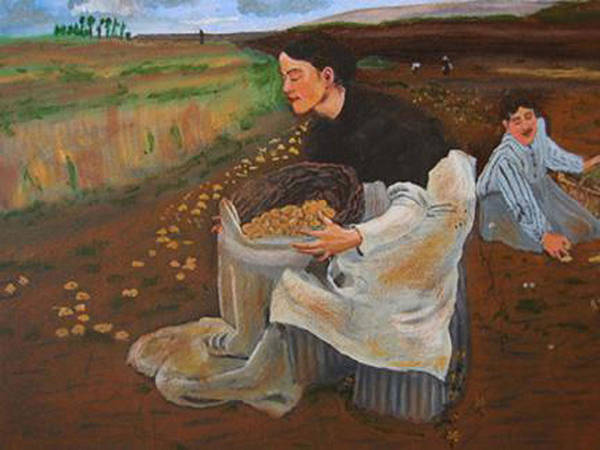 Painting - Potatoe Pickers by Richard Le Page