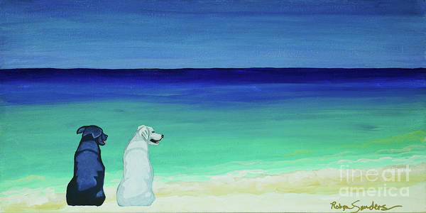 Lab Potcake Dogs On The Beach Art Print
